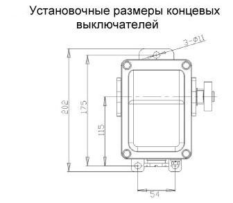 Установочные размеры концевых выключателей серии КУ