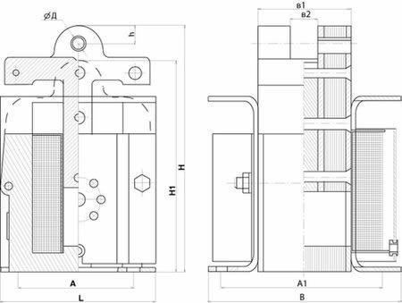 Габаритные размеры электромагнита ЭМИС тянущего исполнения