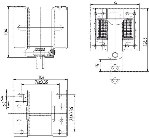 Габаритные и присоединительные размеры 'электромагнита ИЖМВ-684432.003